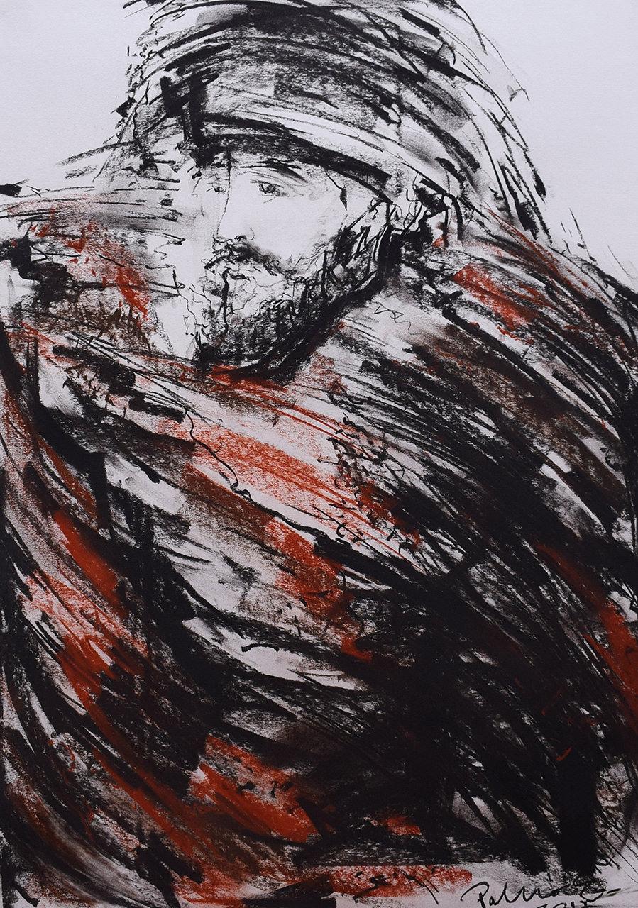 Čovijek s kapom – Erno Palko Kombinirana tehnika 64x84